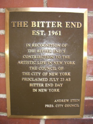 Bitter End placque